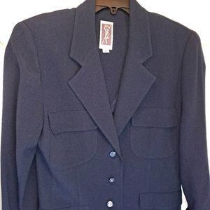 Vintage Zelda Long Jacket Navy Sparkle Buttons 80s